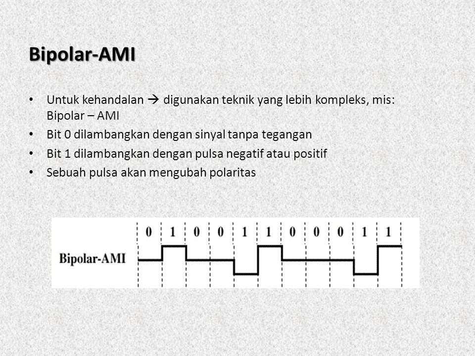 Bipolar-AMI • Untuk kehandalan  digunakan teknik yang lebih kompleks, mis: Bipolar – AMI • Bit 0 dilambangkan dengan sinyal tanpa tegangan • Bit 1 di