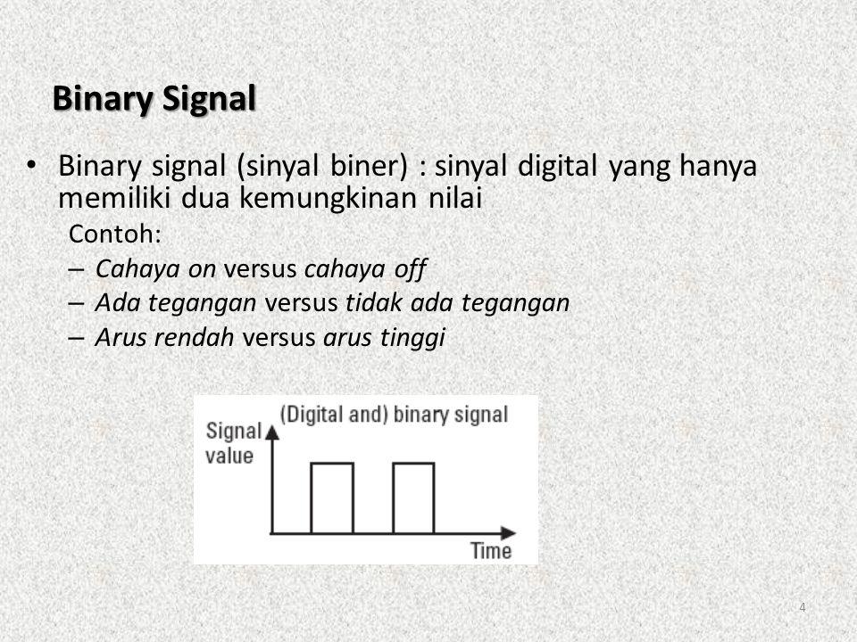 4 Binary Signal • Binary signal (sinyal biner) : sinyal digital yang hanya memiliki dua kemungkinan nilai Contoh: – Cahaya on versus cahaya off – Ada