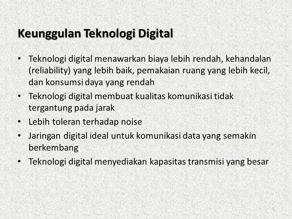 5 Keunggulan Teknologi Digital • Teknologi digital menawarkan biaya lebih rendah, kehandalan (reliability) yang lebih baik, pemakaian ruang yang lebih