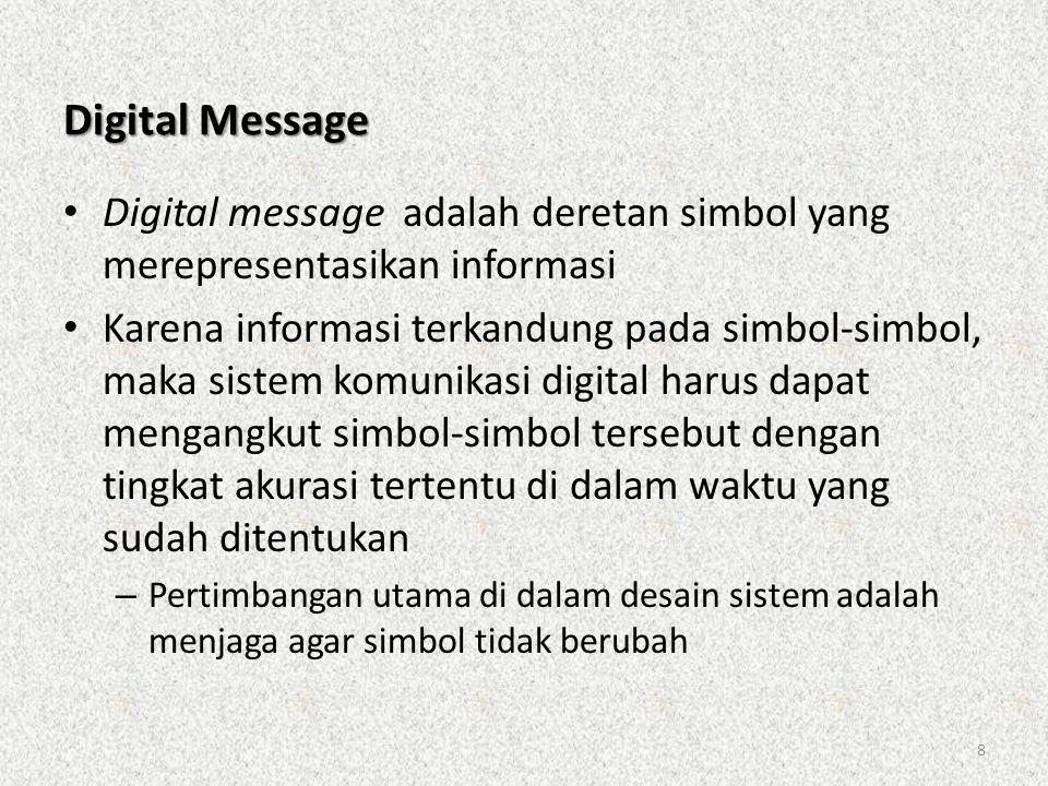 8 Digital Message • Digital message adalah deretan simbol yang merepresentasikan informasi • Karena informasi terkandung pada simbol-simbol, maka sist