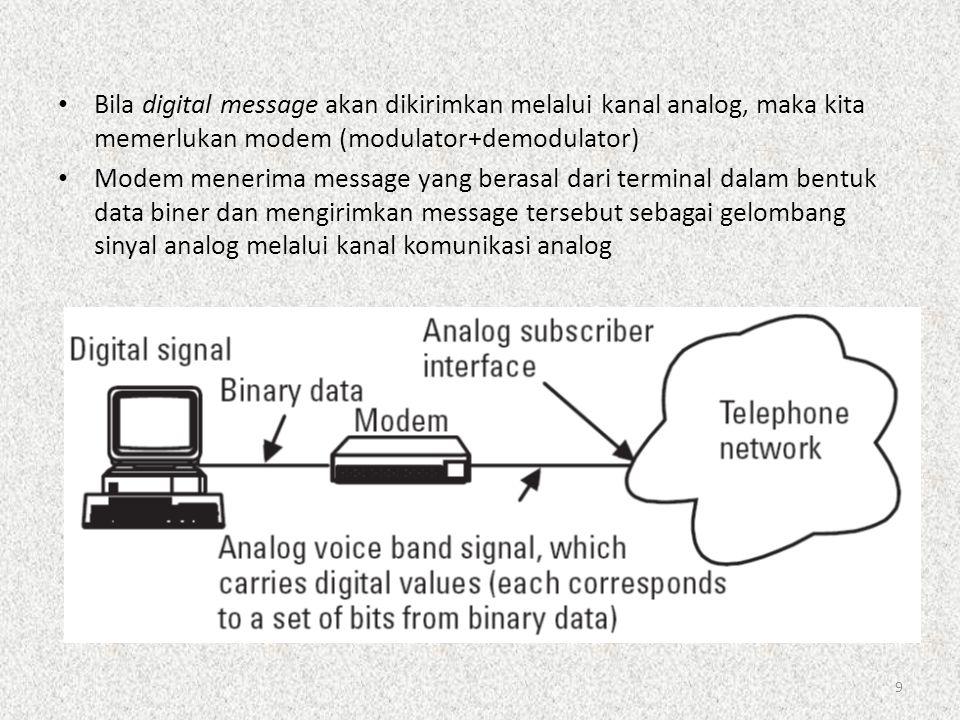 9 • Bila digital message akan dikirimkan melalui kanal analog, maka kita memerlukan modem (modulator+demodulator) • Modem menerima message yang berasa