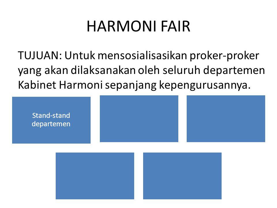 HARMONI FAIR TUJUAN: Untuk mensosialisasikan proker-proker yang akan dilaksanakan oleh seluruh departemen Kabinet Harmoni sepanjang kepengurusannya.