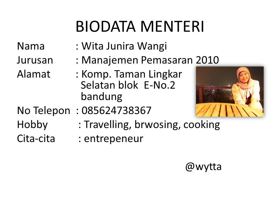 BIODATA MENTERI Nama : Wita Junira Wangi Jurusan : Manajemen Pemasaran 2010 Alamat : Komp.