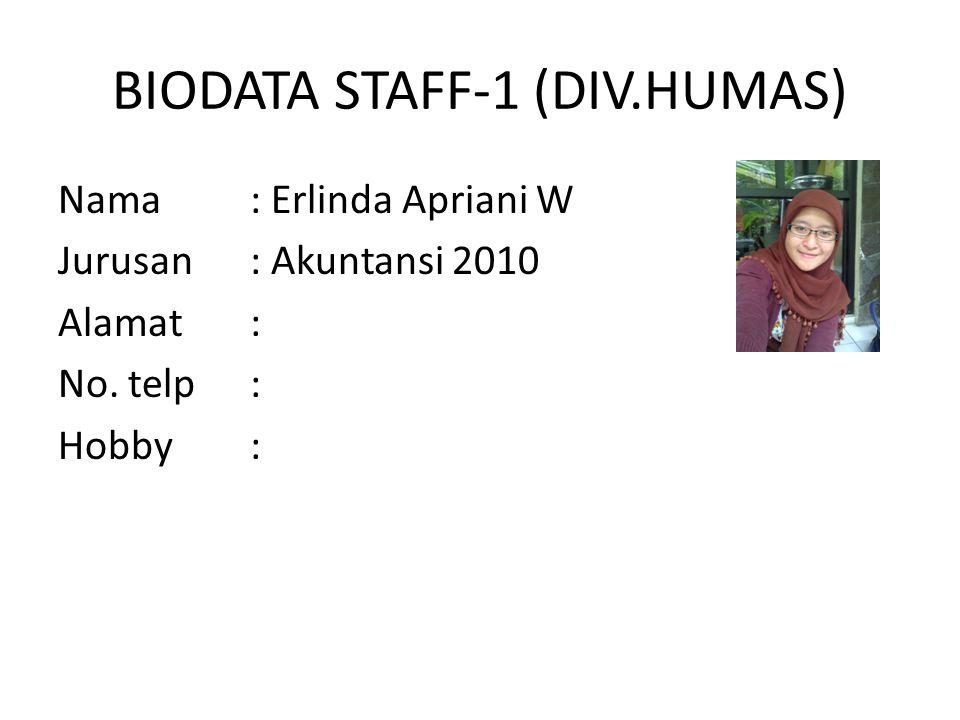 BIODATA STAFF-1 (DIV.HUMAS) Nama : Erlinda Apriani W Jurusan : Akuntansi 2010 Alamat : No.
