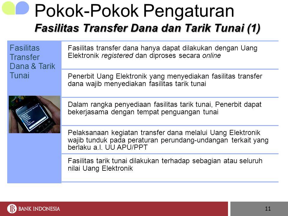 11 Fasilitas Transfer Dana & Tarik Tunai Fasilitas transfer dana hanya dapat dilakukan dengan Uang Elektronik registered dan diproses secara online Pe