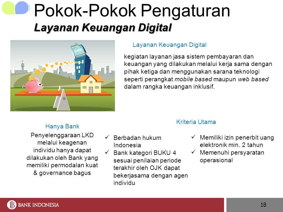 18 Layanan Keuangan Digital Pokok-Pokok Pengaturan Layanan Keuangan Digital Hanya Bank Penyelenggaraan LKD melalui keagenan individu hanya dapat dilak
