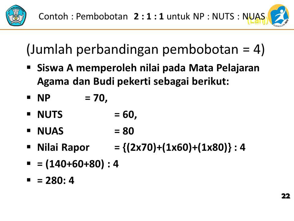 Contoh : Pembobotan 2 : 1 : 1 untuk NP : NUTS : NUAS (Jumlah perbandingan pembobotan = 4)  Siswa A memperoleh nilai pada Mata Pelajaran Agama dan Bud