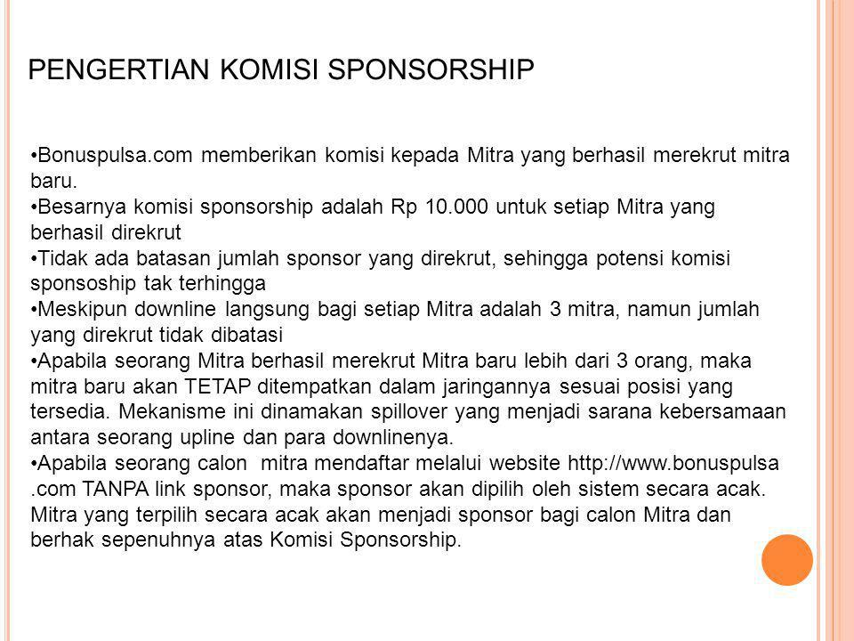 PENGERTIAN KOMISI JARINGAN Bonuspulsa.com memberikan komisi kepada Mitra yang mendapatkan penambahan Mitra baru dalam jaringannya.