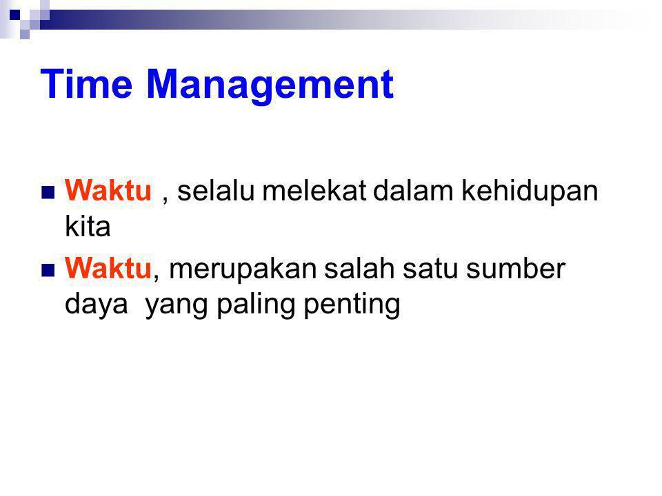 Time Management  Waktu, selalu melekat dalam kehidupan kita  Waktu, merupakan salah satu sumber daya yang paling penting