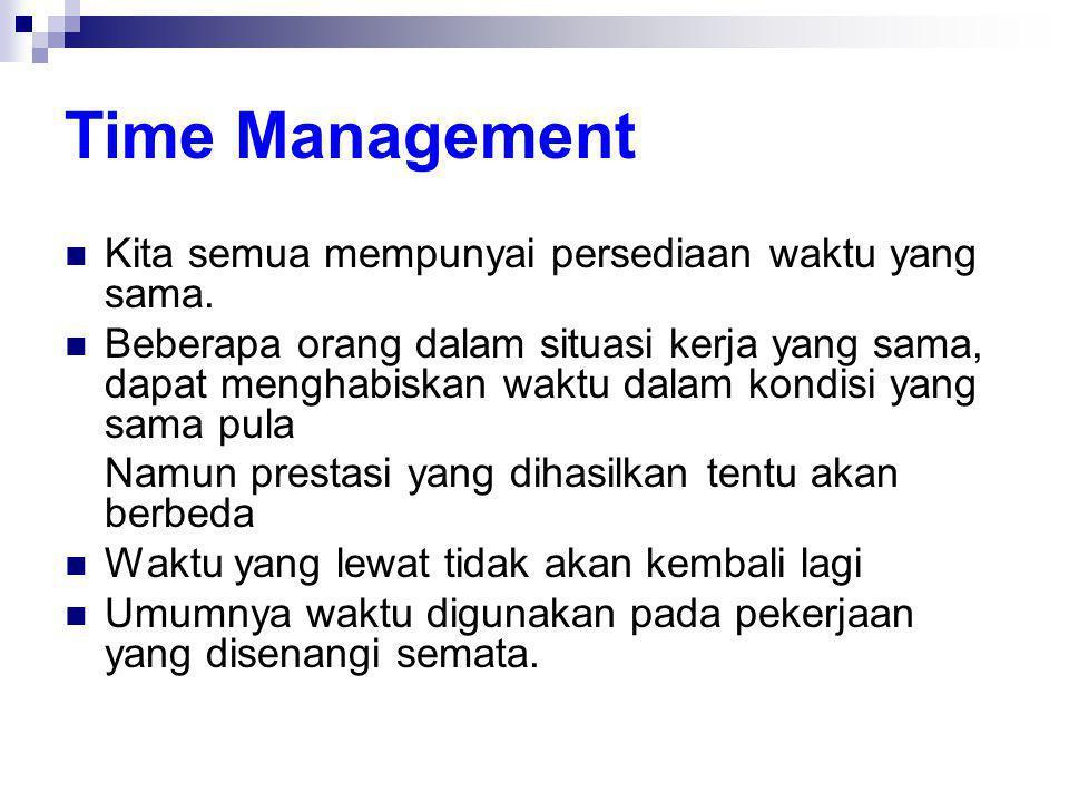 Time Management  Kita semua mempunyai persediaan waktu yang sama.  Beberapa orang dalam situasi kerja yang sama, dapat menghabiskan waktu dalam kond