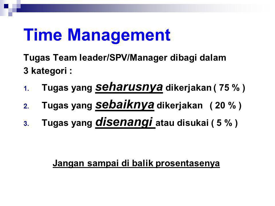 Time Management Tugas Team leader/SPV/Manager dibagi dalam 3 kategori : 1. Tugas yang seharusnya dikerjakan ( 75 % ) 2. Tugas yang sebaiknya dikerjaka