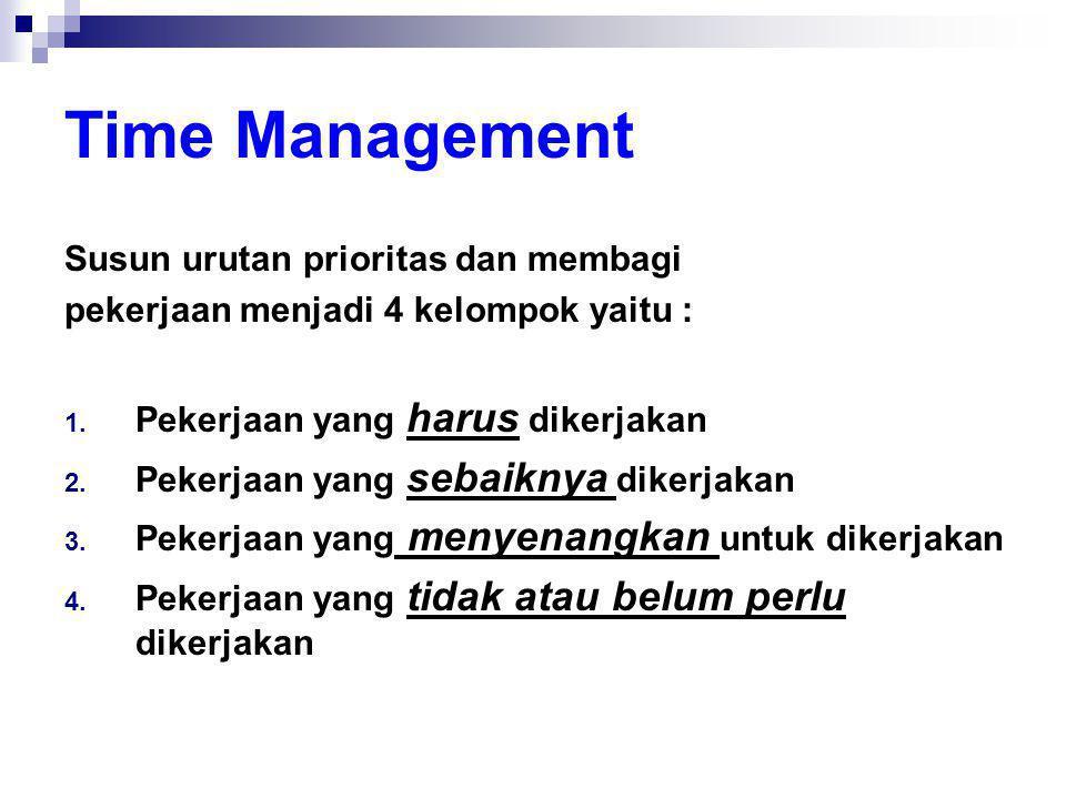 Time Management Susun urutan prioritas dan membagi pekerjaan menjadi 4 kelompok yaitu : 1. Pekerjaan yang harus dikerjakan 2. Pekerjaan yang sebaiknya