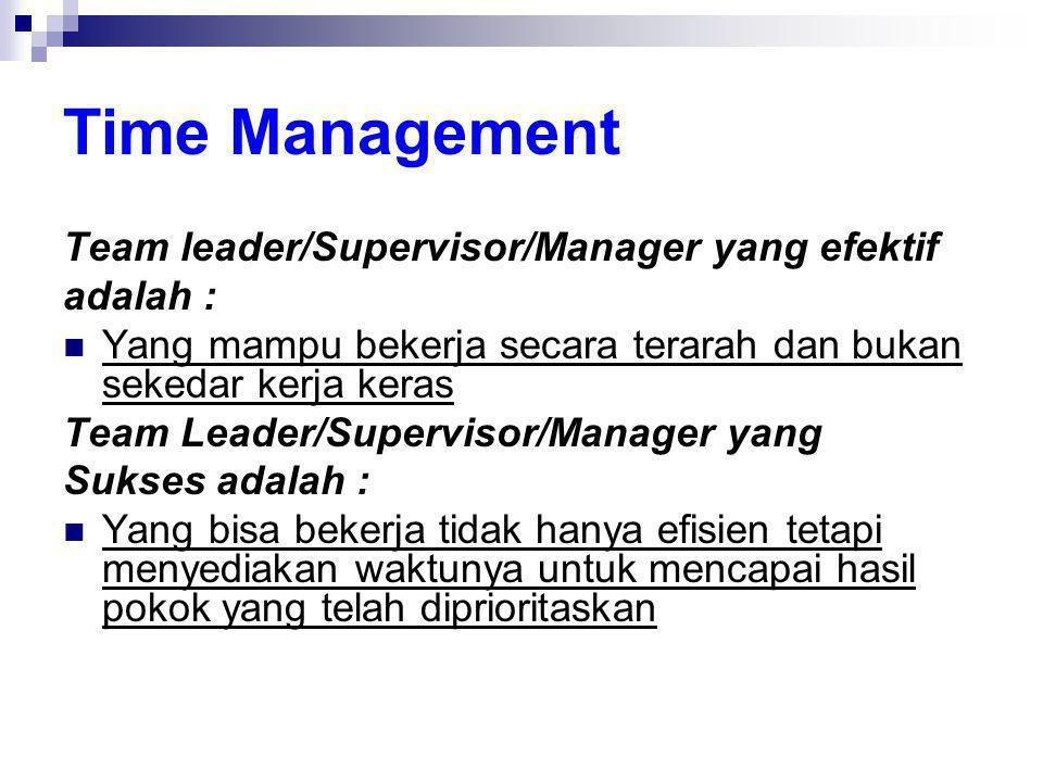 Time Management Team leader/Supervisor/Manager yang efektif adalah :  Yang mampu bekerja secara terarah dan bukan sekedar kerja keras Team Leader/Sup