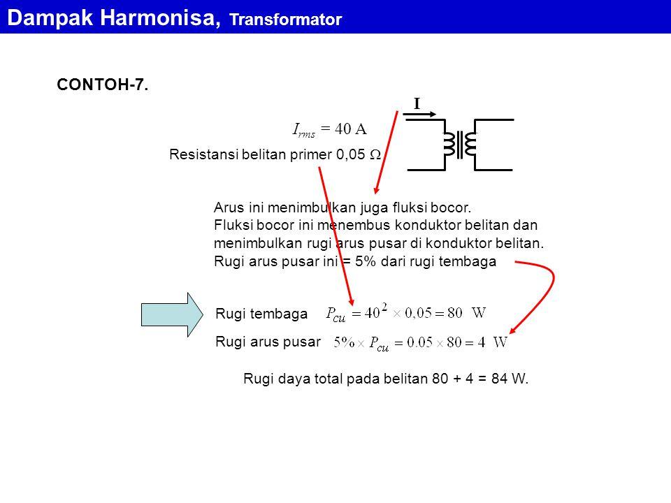 CONTOH-7. Resistansi belitan primer 0,05  I I rms = 40 A Arus ini menimbulkan juga fluksi bocor. Fluksi bocor ini menembus konduktor belitan dan meni