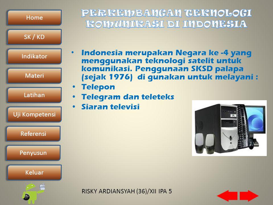 Home SK / KDSK / KD Indikator Materi Latihan Uji Kompetensi Penyusun Referensi Keluar RISKY ARDIANSYAH (36)/XII IPA 5 • Indonesia merupakan Negara ke -4 yang menggunakan teknologi satelit untuk komunikasi.