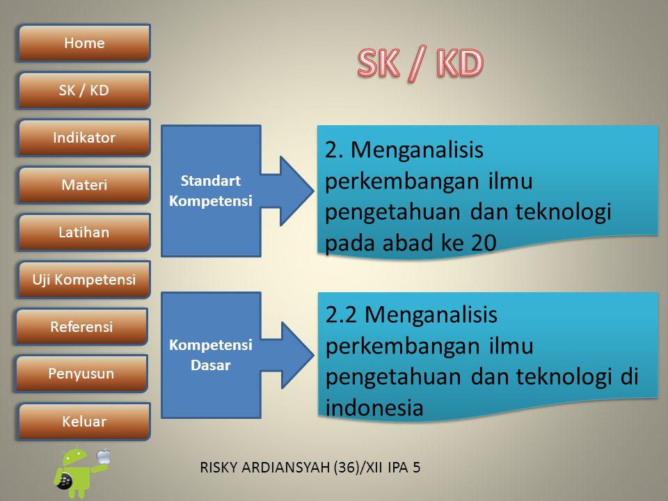 Home SK / KDSK / KD Indikator Materi Latihan Uji Kompetensi Penyusun Referensi Keluar RISKY ARDIANSYAH (36)/XII IPA 5 Standart Kompetensi Kompetensi Dasar 2.