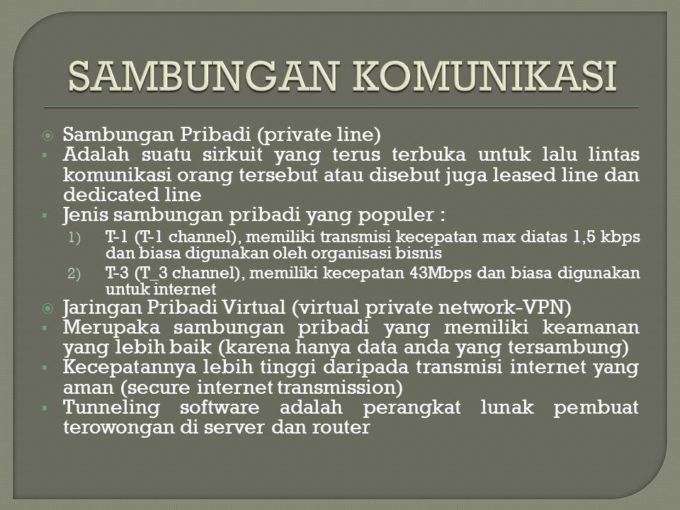  Sambungan Pribadi (private line)  Adalah suatu sirkuit yang terus terbuka untuk lalu lintas komunikasi orang tersebut atau disebut juga leased line dan dedicated line  Jenis sambungan pribadi yang populer : 1) T-1 (T-1 channel), memiliki transmisi kecepatan max diatas 1,5 kbps dan biasa digunakan oleh organisasi bisnis 2) T-3 (T_3 channel), memiliki kecepatan 43Mbps dan biasa digunakan untuk internet  Jaringan Pribadi Virtual (virtual private network-VPN)  Merupaka sambungan pribadi yang memiliki keamanan yang lebih baik (karena hanya data anda yang tersambung)  Kecepatannya lebih tinggi daripada transmisi internet yang aman (secure internet transmission)  Tunneling software adalah perangkat lunak pembuat terowongan di server dan router