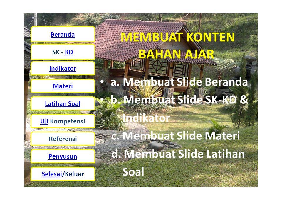 Beranda SK - KD Indikator Materi Latihan Soal UjiUji Kompetensi Referensi Penyusun Selesai/Keluar MEMBUAT KONTEN BAHAN AJAR • a.