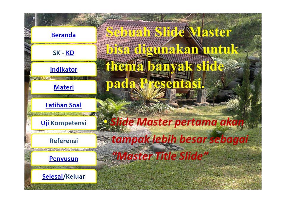 Beranda SK - KD Indikator Materi Latihan Soal UjiUji Kompetensi Referensi Penyusun Selesai/Keluar Sebuah Slide Master bisa digunakan untuk thema banyak slide pada Presentasi.