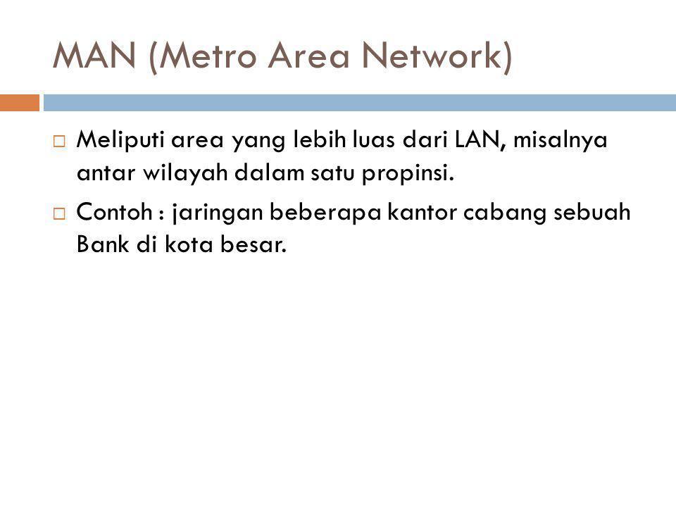 MAN (Metro Area Network)  Meliputi area yang lebih luas dari LAN, misalnya antar wilayah dalam satu propinsi.  Contoh : jaringan beberapa kantor cab