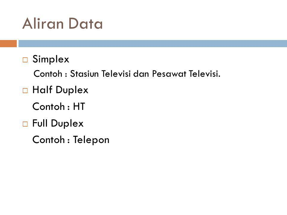 Aliran Data  Simplex Contoh : Stasiun Televisi dan Pesawat Televisi.  Half Duplex Contoh : HT  Full Duplex Contoh : Telepon