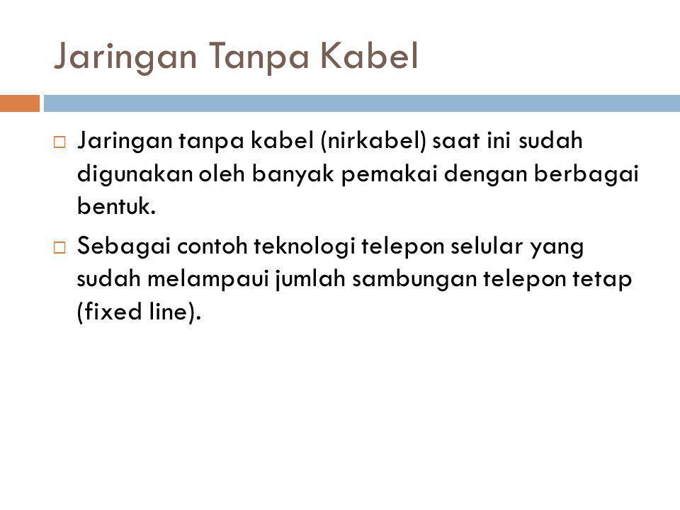 Jaringan Tanpa Kabel  Jaringan tanpa kabel (nirkabel) saat ini sudah digunakan oleh banyak pemakai dengan berbagai bentuk.  Sebagai contoh teknologi