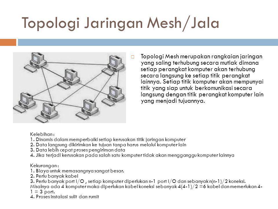 Topologi Jaringan Mesh/Jala Kelebihan : 1. Dinamis dalam memperbaiki setiap kerusakan titik jaringan komputer 2. Data langsung dikirimkan ke tujuan ta