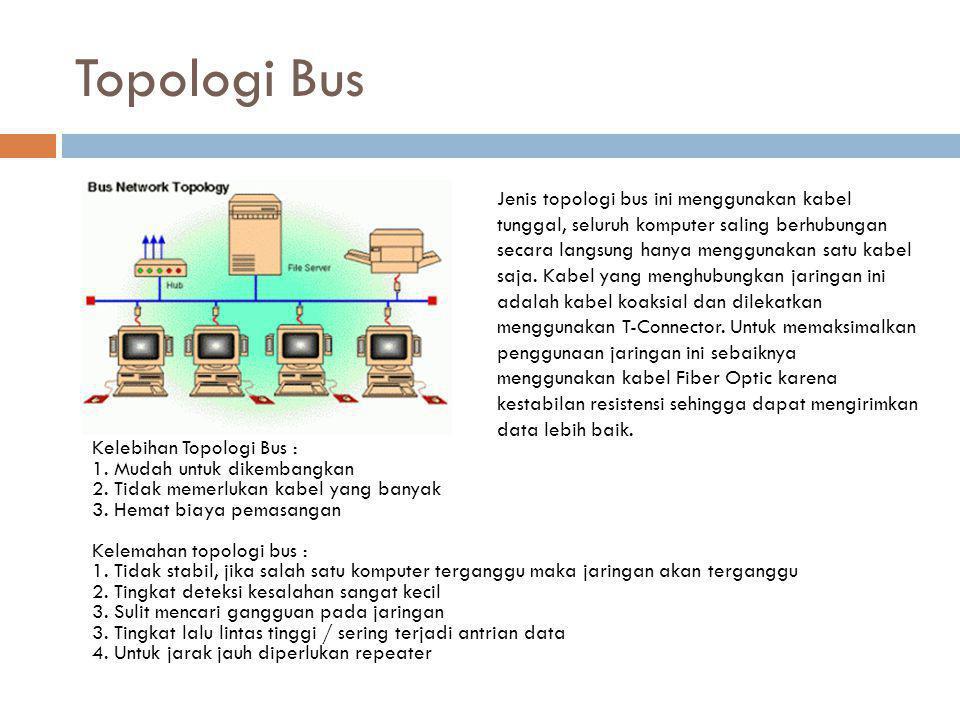 Topologi Bus Kelebihan Topologi Bus : 1. Mudah untuk dikembangkan 2. Tidak memerlukan kabel yang banyak 3. Hemat biaya pemasangan Kelemahan topologi b