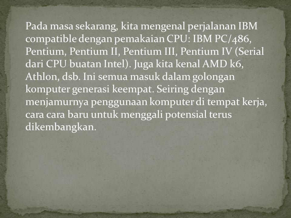 Pada masa sekarang, kita mengenal perjalanan IBM compatible dengan pemakaian CPU: IBM PC/486, Pentium, Pentium II, Pentium III, Pentium IV (Serial dar