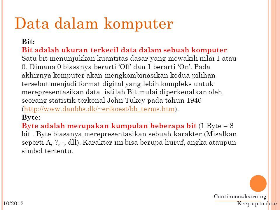 Continuous learning Keep up to date 10/2012 Bit: Bit adalah ukuran terkecil data dalam sebuah komputer.