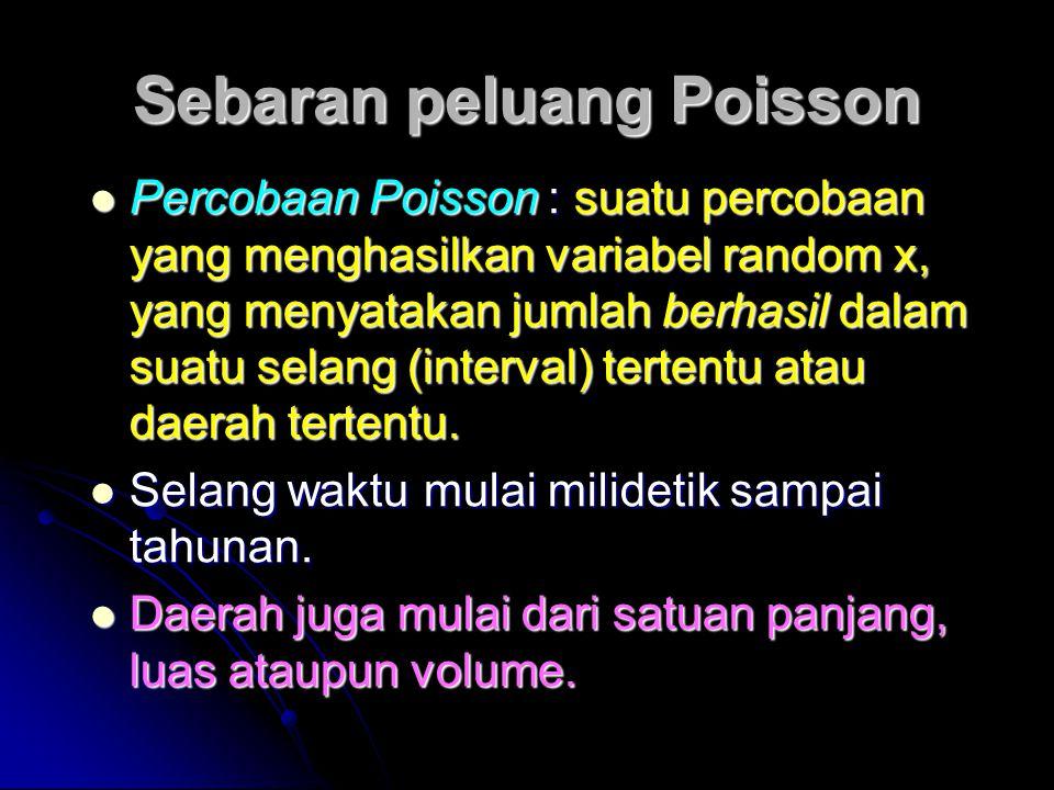 Sebaran peluang Poisson  Percobaan Poisson : suatu percobaan yang menghasilkan variabel random x, yang menyatakan jumlah berhasil dalam suatu selang (interval) tertentu atau daerah tertentu.