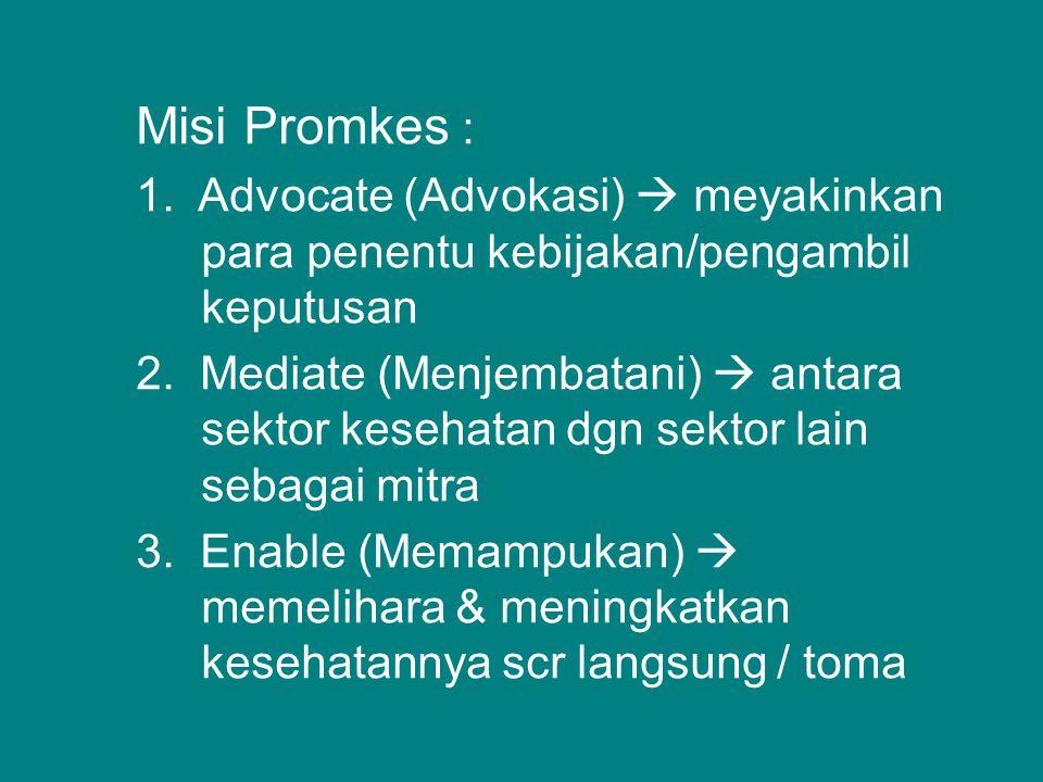 Misi Promkes : 1.Advocate (Advokasi)  meyakinkan para penentu kebijakan/pengambil keputusan 2.