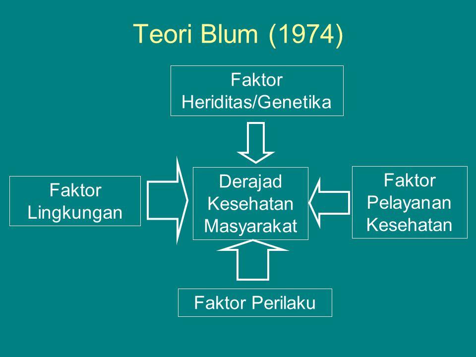 Teori Blum (1974) Derajad Kesehatan Masyarakat Faktor Heriditas/Genetika Faktor Lingkungan Faktor Pelayanan Kesehatan Faktor Perilaku
