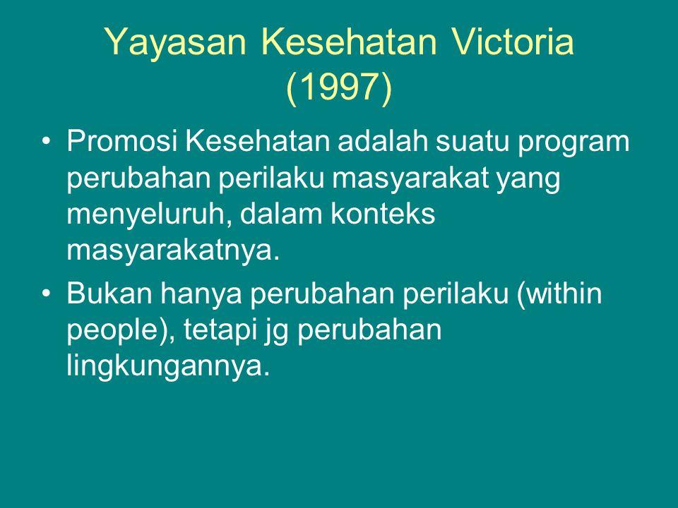 Yayasan Kesehatan Victoria (1997) •Promosi Kesehatan adalah suatu program perubahan perilaku masyarakat yang menyeluruh, dalam konteks masyarakatnya.