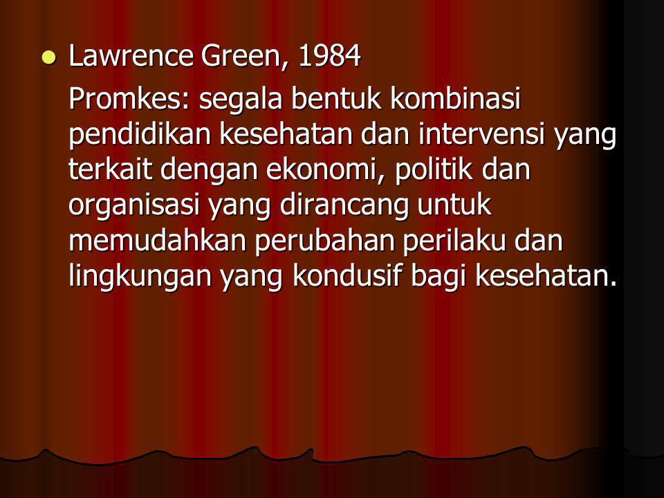  Lawrence Green, 1984 Promkes: segala bentuk kombinasi pendidikan kesehatan dan intervensi yang terkait dengan ekonomi, politik dan organisasi yang dirancang untuk memudahkan perubahan perilaku dan lingkungan yang kondusif bagi kesehatan.