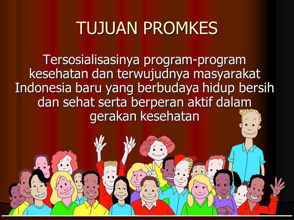 TUJUAN PROMKES Tersosialisasinya program-program kesehatan dan terwujudnya masyarakat Indonesia baru yang berbudaya hidup bersih dan sehat serta berperan aktif dalam gerakan kesehatan