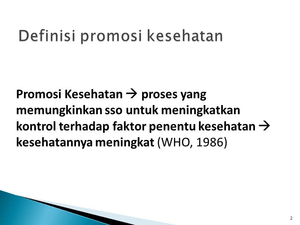 Promosi Kesehatan  proses yang memungkinkan sso untuk meningkatkan kontrol terhadap faktor penentu kesehatan  kesehatannya meningkat (WHO, 1986) 2