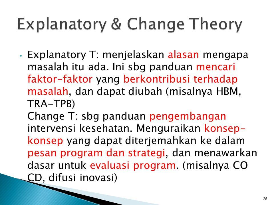 • Explanatory T: menjelaskan alasan mengapa masalah itu ada.