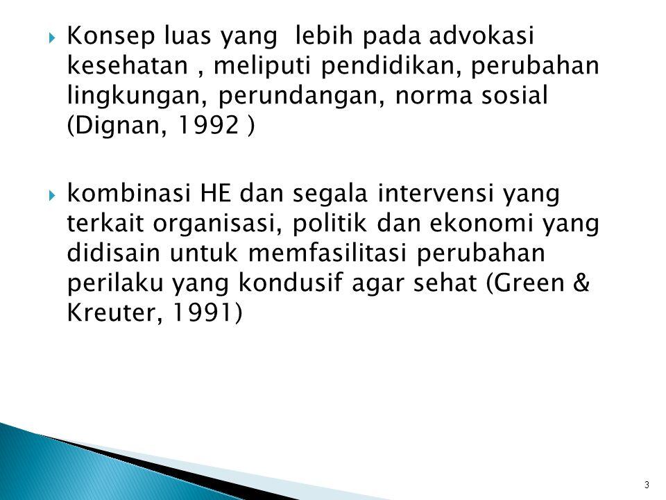  Konsep luas yang lebih pada advokasi kesehatan, meliputi pendidikan, perubahan lingkungan, perundangan, norma sosial (Dignan, 1992 )  kombinasi HE