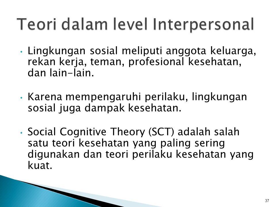 • Lingkungan sosial meliputi anggota keluarga, rekan kerja, teman, profesional kesehatan, dan lain-lain. • Karena mempengaruhi perilaku, lingkungan so