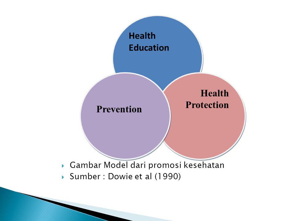 Bidang kegiatan promosi kesehatan Program pendidikan kesehatan (primer, sekunder, tersier) Tindakan kesehatan environmental Pengembangan Organisasi Kegiatan berbasis pada masyarakat Pelayanan Kesehatan Preventif Kegiatan ekonomi dan peraturan