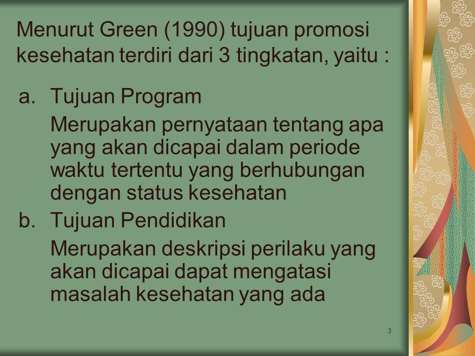 3 Menurut Green (1990) tujuan promosi kesehatan terdiri dari 3 tingkatan, yaitu : a.Tujuan Program Merupakan pernyataan tentang apa yang akan dicapai