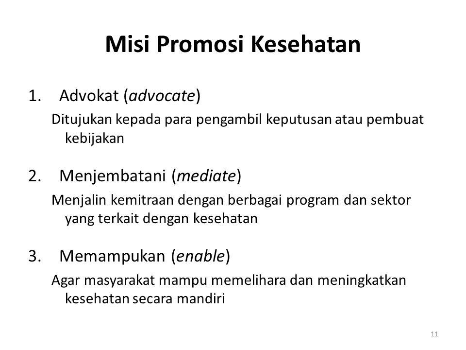 11 Misi Promosi Kesehatan 1.Advokat (advocate) Ditujukan kepada para pengambil keputusan atau pembuat kebijakan 2.Menjembatani (mediate) Menjalin kemi