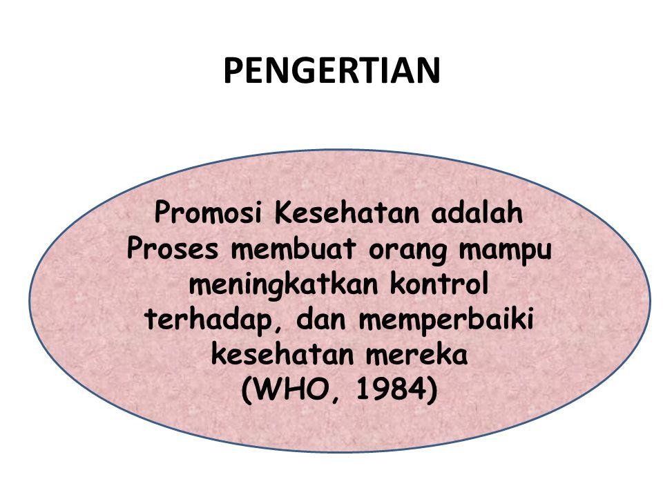 PENGERTIAN Promosi Kesehatan adalah Proses membuat orang mampu meningkatkan kontrol terhadap, dan memperbaiki kesehatan mereka (WHO, 1984)