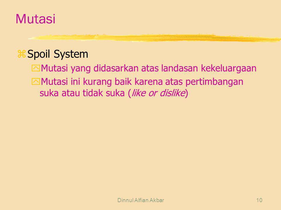 Dinnul Alfian Akbar10 Mutasi zSpoil System yMutasi yang didasarkan atas landasan kekeluargaan yMutasi ini kurang baik karena atas pertimbangan suka at