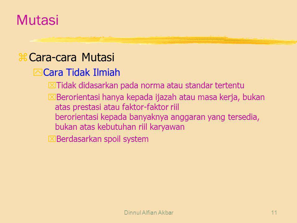 Dinnul Alfian Akbar11 Mutasi zCara-cara Mutasi yCara Tidak Ilmiah xTidak didasarkan pada norma atau standar tertentu xBerorientasi hanya kepada ijazah