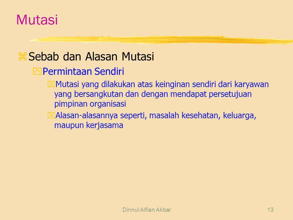 Dinnul Alfian Akbar13 Mutasi zSebab dan Alasan Mutasi yPermintaan Sendiri xMutasi yang dilakukan atas keinginan sendiri dari karyawan yang bersangkuta