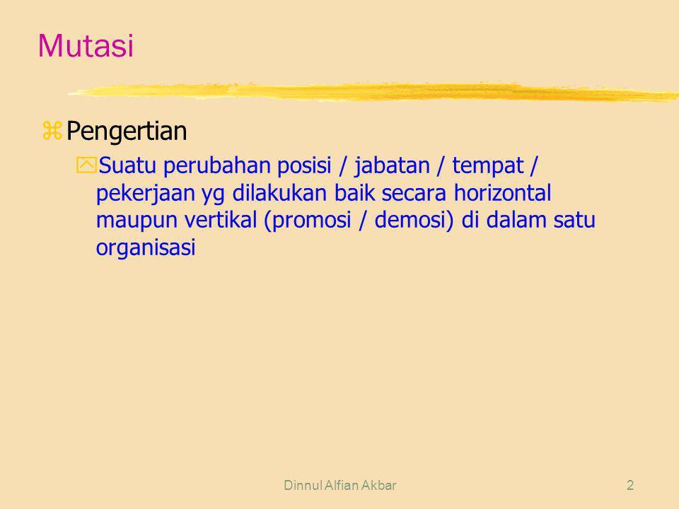 Dinnul Alfian Akbar3 Mutasi zRuang Lingkup yMutasi Horizontal xPerubahan tempat atau jabatan karyawan tetapi masih pada ranking yang sama di dalam organisasi.