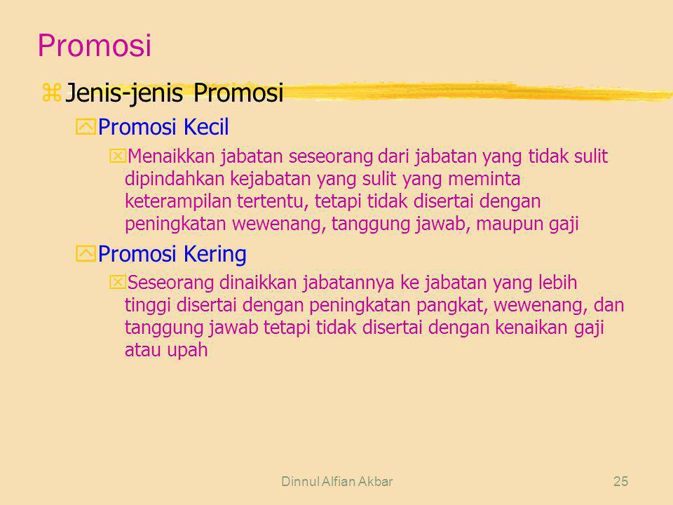 Dinnul Alfian Akbar25 Promosi zJenis-jenis Promosi yPromosi Kecil xMenaikkan jabatan seseorang dari jabatan yang tidak sulit dipindahkan kejabatan yan