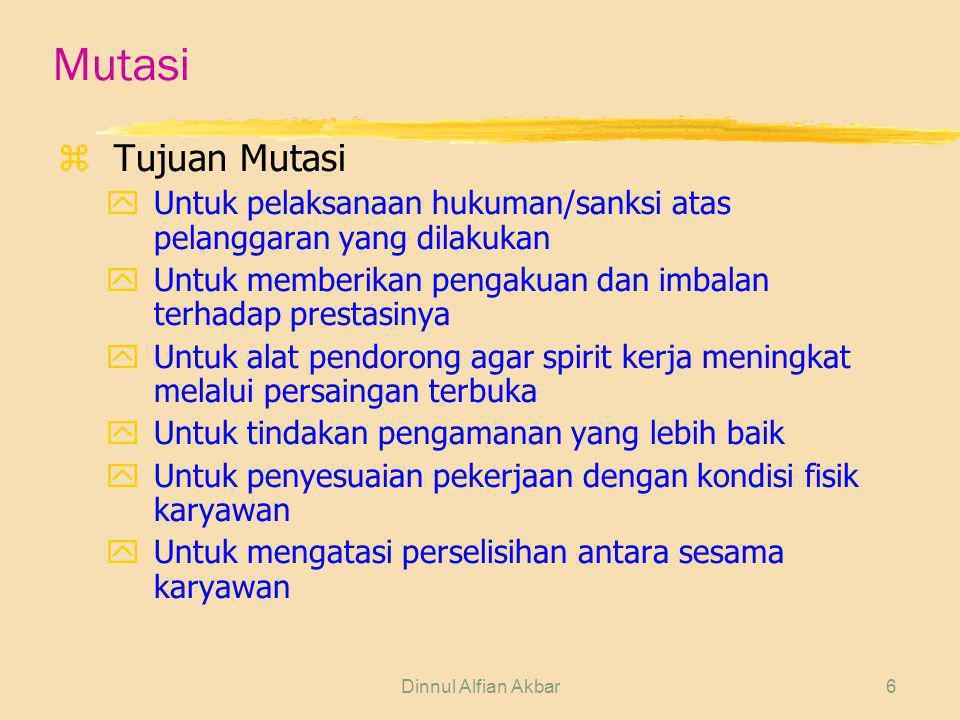 Dinnul Alfian Akbar7 Mutasi zPrinsip Mutasi yMemutasikan karyawa kepada posisi yang tepat dan pekerjaan yang sesuai, agar semangat dan produktivitasnya meningkat